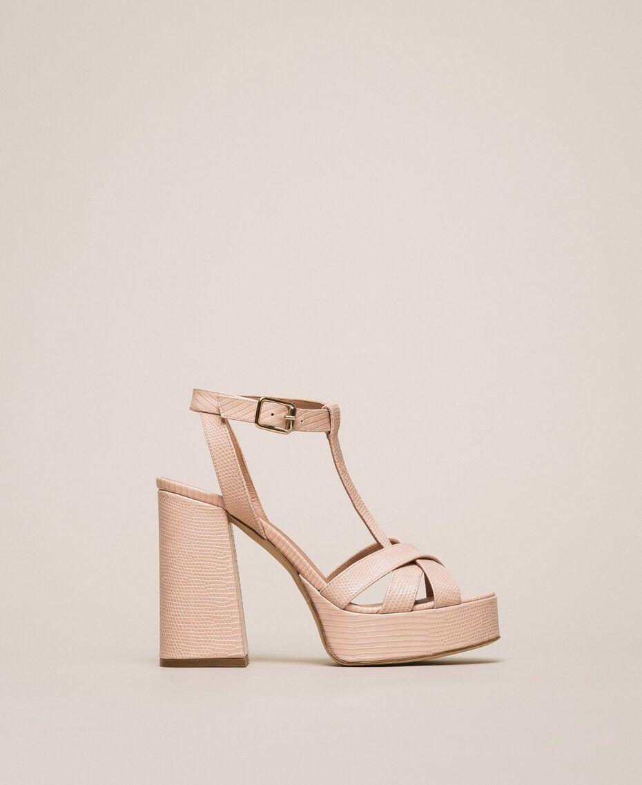 T-Bar-Sandalette aus Leder Blütenknospenrosa Frau 201TCP070-02