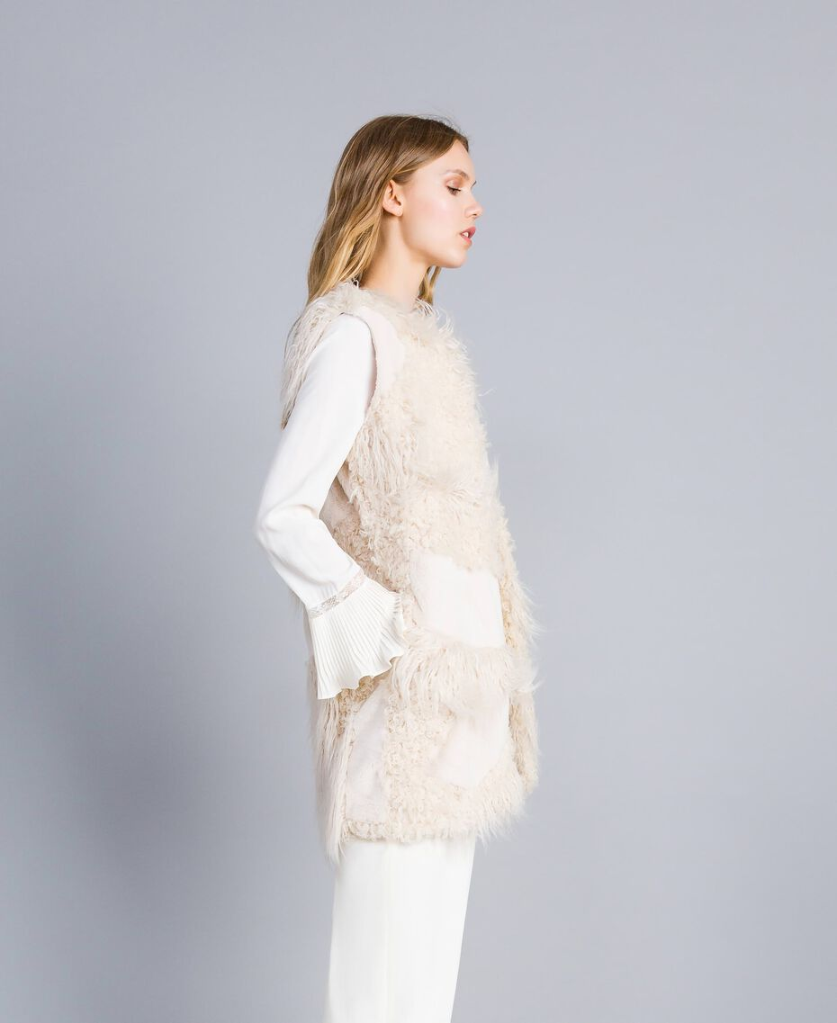 Gilet lungo in similpelliccia patch Bianco Neve Donna TA82A2-02