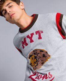Sweat en coton avec imprimé et broderie Multicolore Gris Chiné / Rouge Coquelicot / Vert Alpin Homme UA82DC-04