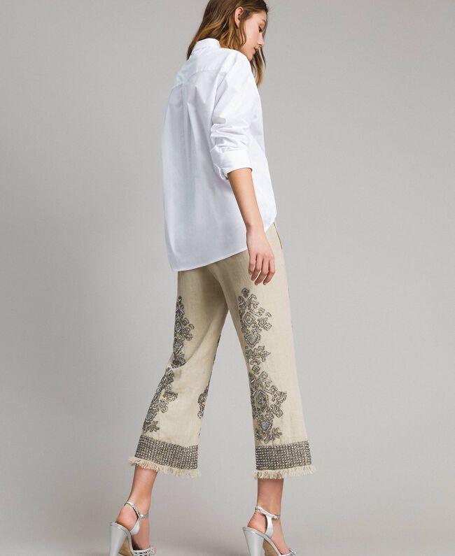 """Pantalon en lin orné de perles et de sequins Beige """"Sable"""" Femme 191TT2061-01"""