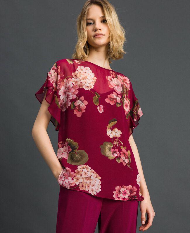 Floral print creponne blouse Beet Red Geranium Print Woman 192TP2720-04