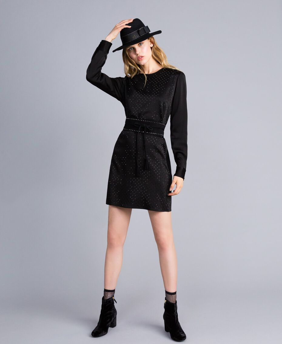 Kleid aus Envers-Satin mit Strass Schwarz Frau TA824N-0T