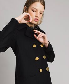 Cloth pea jacket Black Woman 191MP2461-01