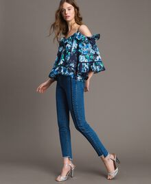 Bluse mit Blumenprint und Volant All Over Blunight Multicolour Flowers Motiv Frau 191MT2291-02
