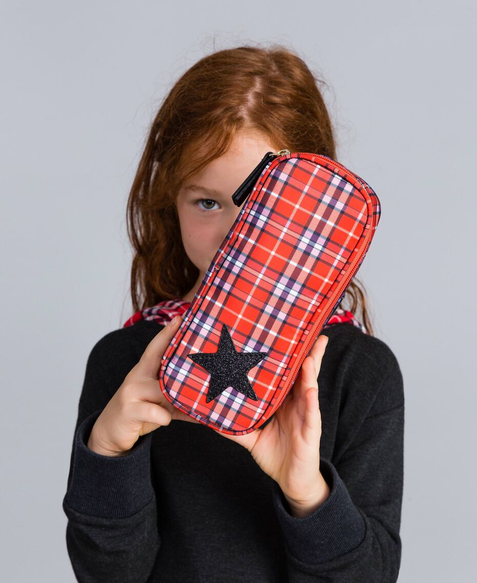 Trousse avec étoile Jacquard Rouge Carreaux Coquelicot Enfant GA8PHP-0S
