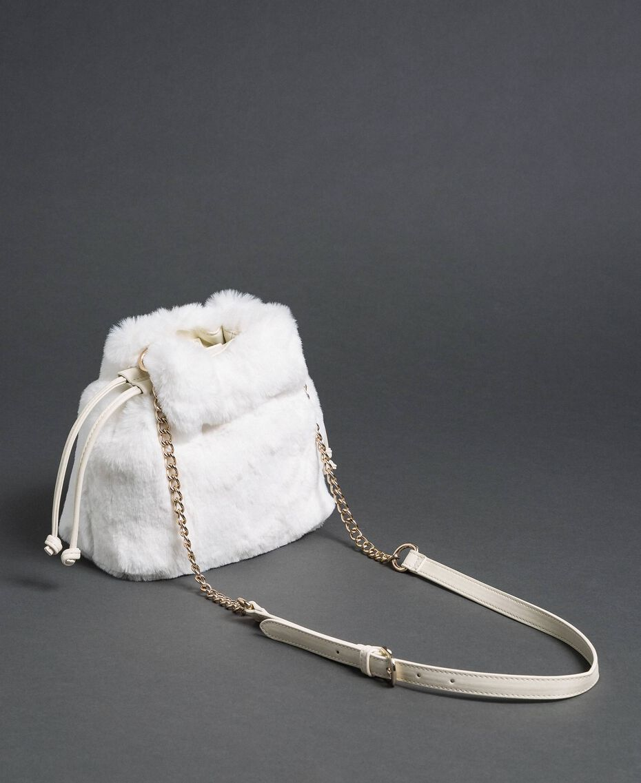 Faux fur bucket bag with drawstring Vanilla White Woman 192MO8032-02
