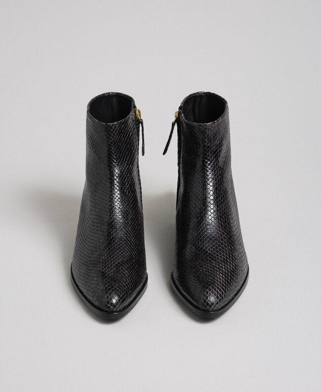 Bottines en cuir avec imprimé animalier Imprimé Python Gris «Anthracite» Femme 192TCP10A-05
