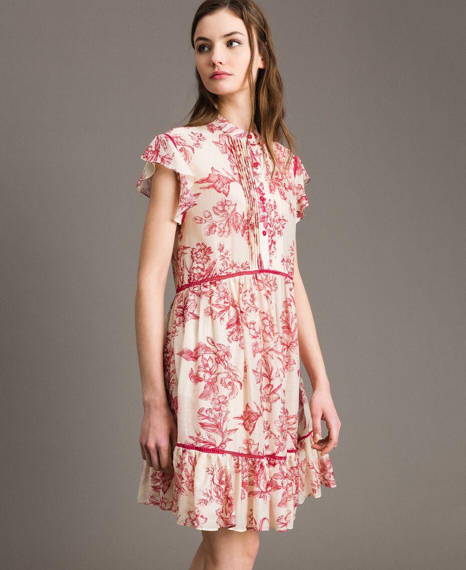 Robe en soie mélangée avec imprimé floral Imprimé Toile De Jouy Rouge Femme 191TT2404-03