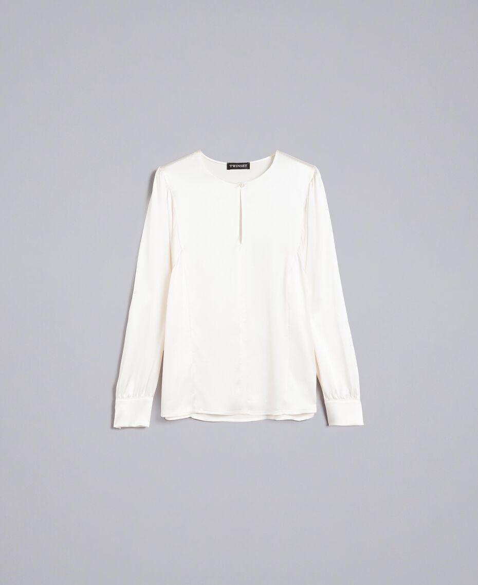 Blouse en satin de soie mélangée Blanc Neige Femme TA82YA-0S
