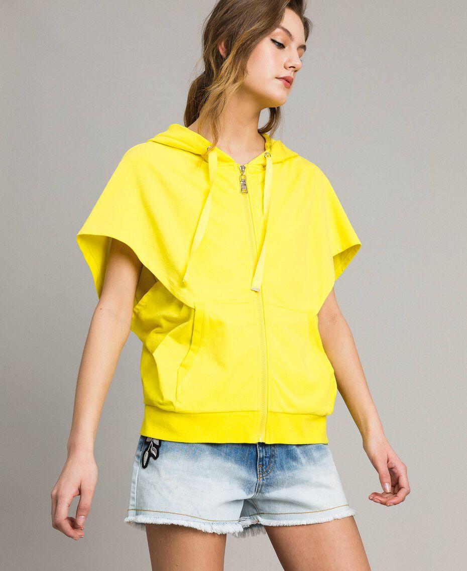 Sweatshirt with hood and zip Fluorescent Yellow Woman 191MT2342-02