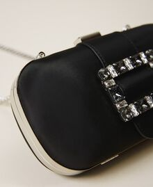 Clutch with jewel buckle and shoulder strap Black Woman 202TB7063-05