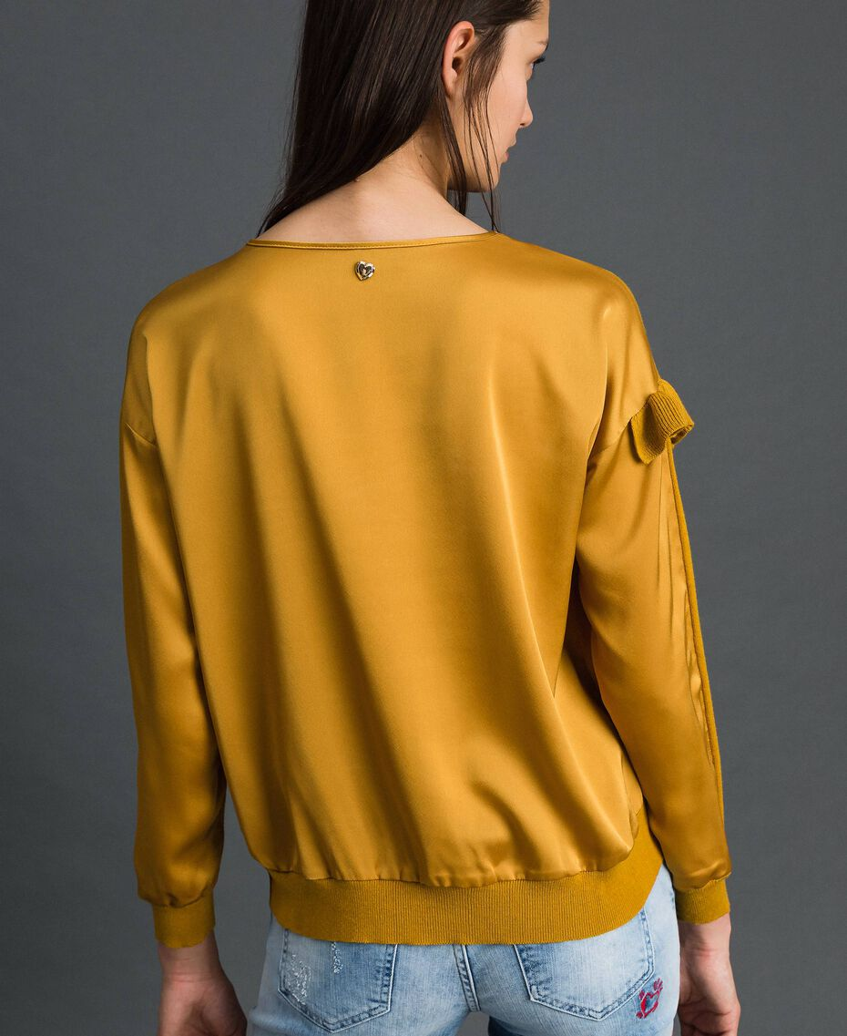 Boxy jumper with asymmetric flounce Saffron Yellow Woman 192MP3193-03