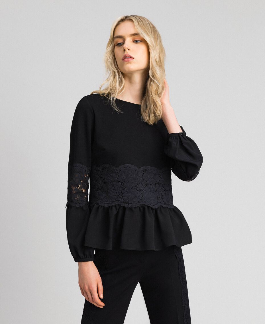 Blouse with macramé lace and flounce Black Woman 192TT2213-01
