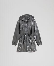 Vinyl effect parka coat with drawstring Lead Grey Woman 192LI2JCC-0S
