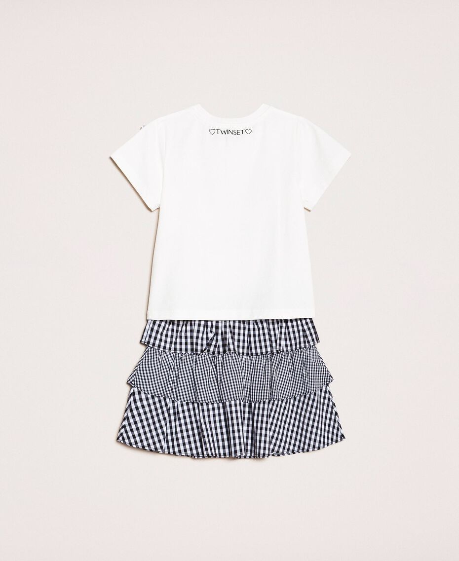 "Printed T-shirt and gingham skirt Two-tone ""Papers"" White / Vichy Mix Child 201GB2092-0S"
