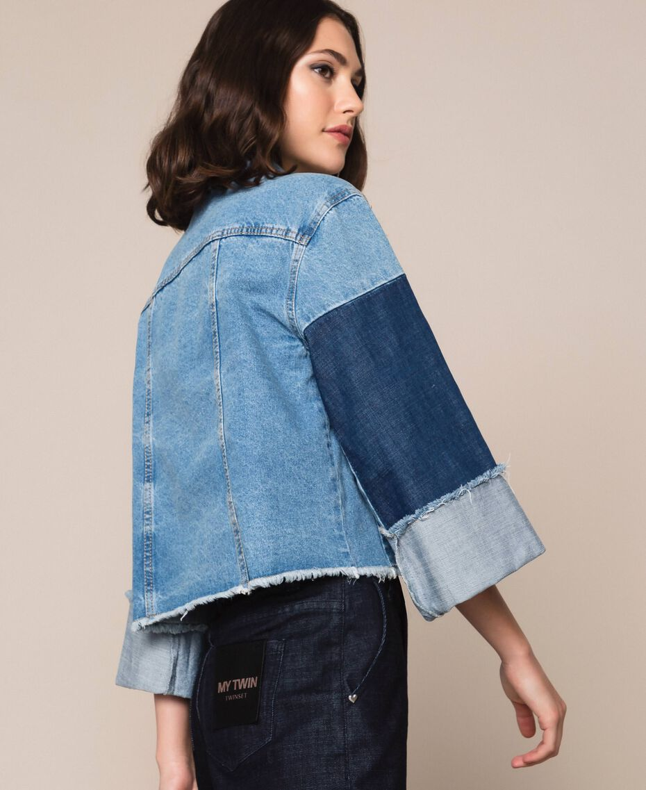 Blouson boxy en jean color block Bleu Denim Femme 201MP2290-02