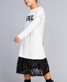 Robe en viscose avec dentelle Bicolore Blanc Cassé / Noir Enfant GA83BN-0S