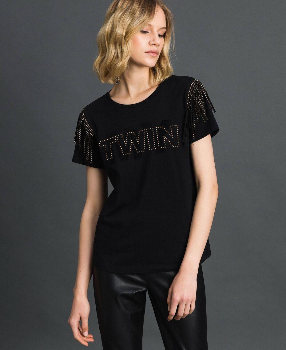 T-Shirt mit Flockdruck-Logo, Nieten und Fransen Schwarz Frau 192MP2450-02