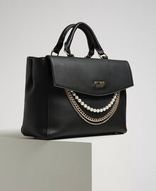Faux leather shopper with pearls and chains Black Woman 192MA7053-01