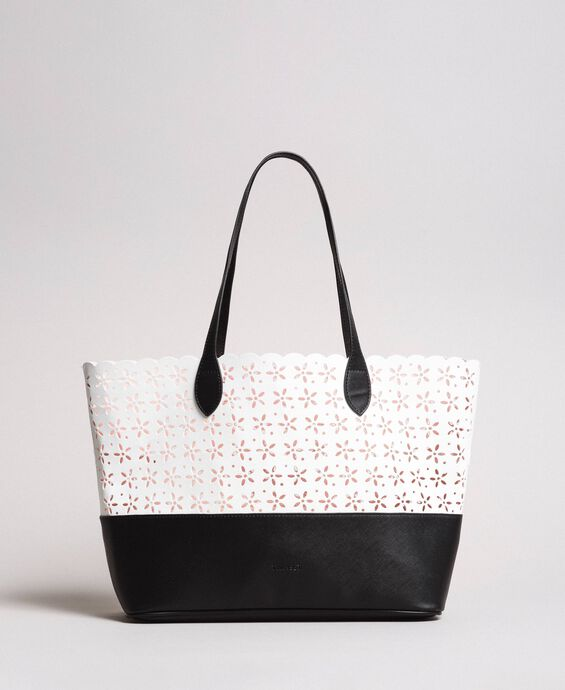 Faux leather floral shopping bag