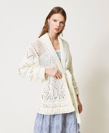 Lace stitch maxi cardigan with fringes White Snow Woman 211TT3030-01