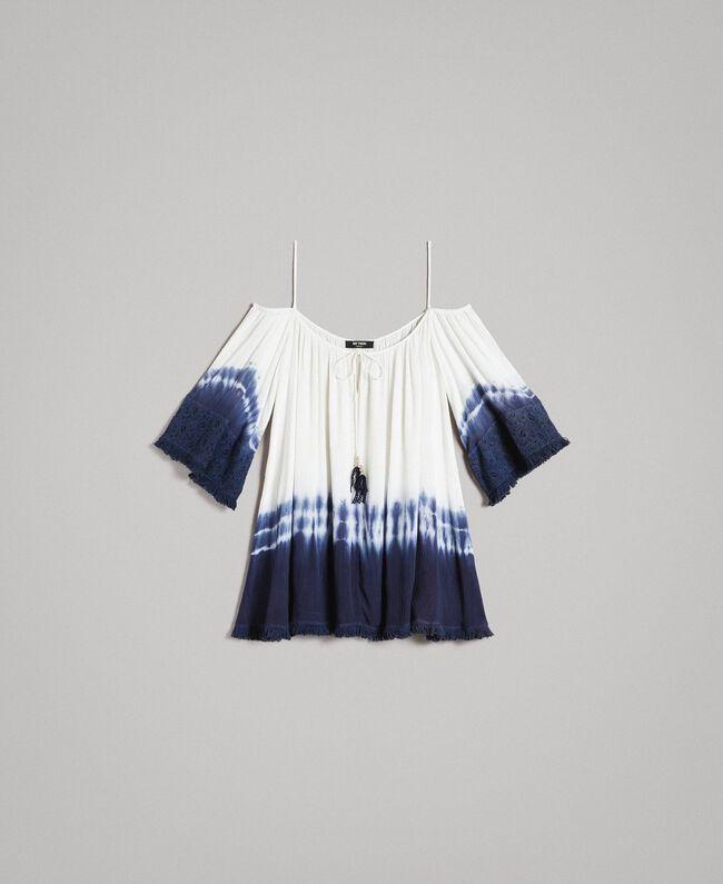 Tie-Dye-Bluse mit Makramee und Fransen Zweifarbig Cremeweiß / Blunight Frau 191MT2320-0S