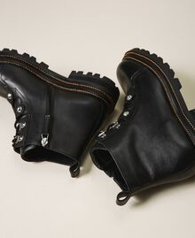 Leather combat boots with bezels Black Woman 202TCT120-04