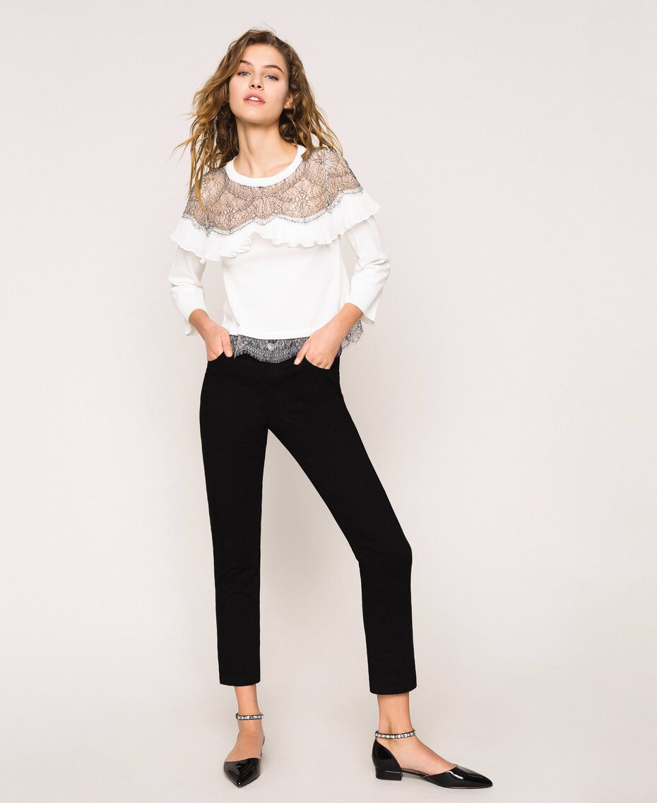 Jumper with two-tone lace and pleats Black Woman 201TT3141-02