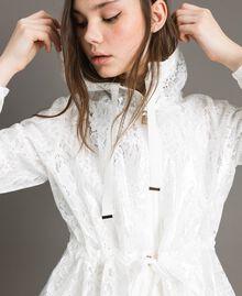 Parka en toile cirée et dentelle Blanc Femme 191MT2100-04