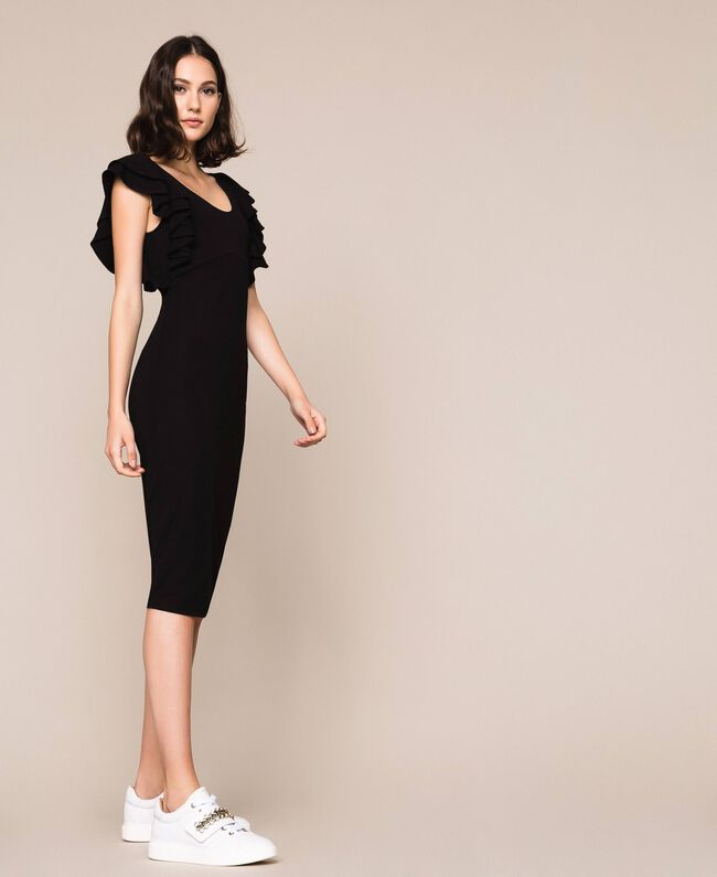 Sheath dress with frills Black Woman 201ST2149-03