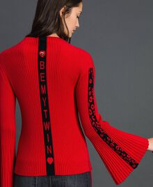 Ribbed jumper with jacquard inlay Poppy Red / Black Woman 192MP3010-03