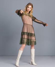 Kleid aus Plumetis-Tüll und Spitze Waldgrün Frau TA82XB-02