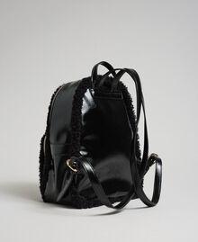 Zaino in similpelliccia con tasca frontale Nero Donna 192MO8080-03