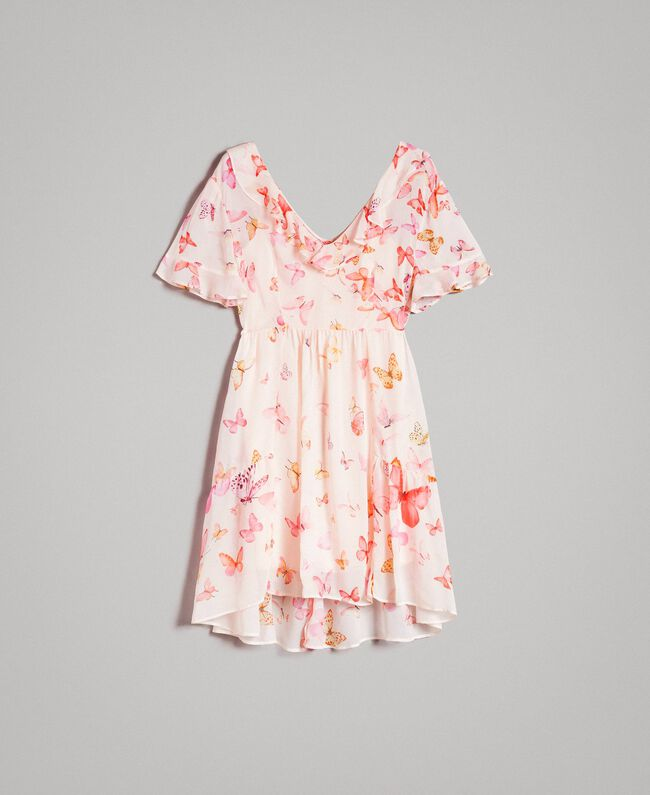 Georgette-Kleid mit Schmetterlings-Aufdruck Motiv Schmetterling Gemischt Pink Frau 191TT2394-0S