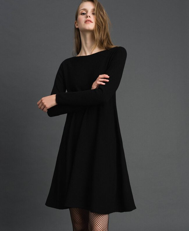 Knitted full dress Black Woman 192TT3281-01