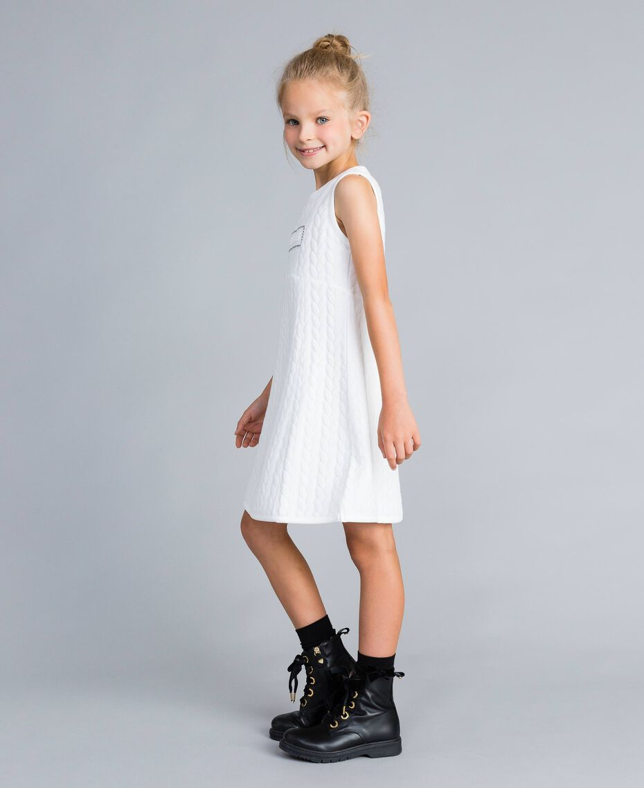 Matelassé fleece dress with rhinestones Off White Child GA82NP-02