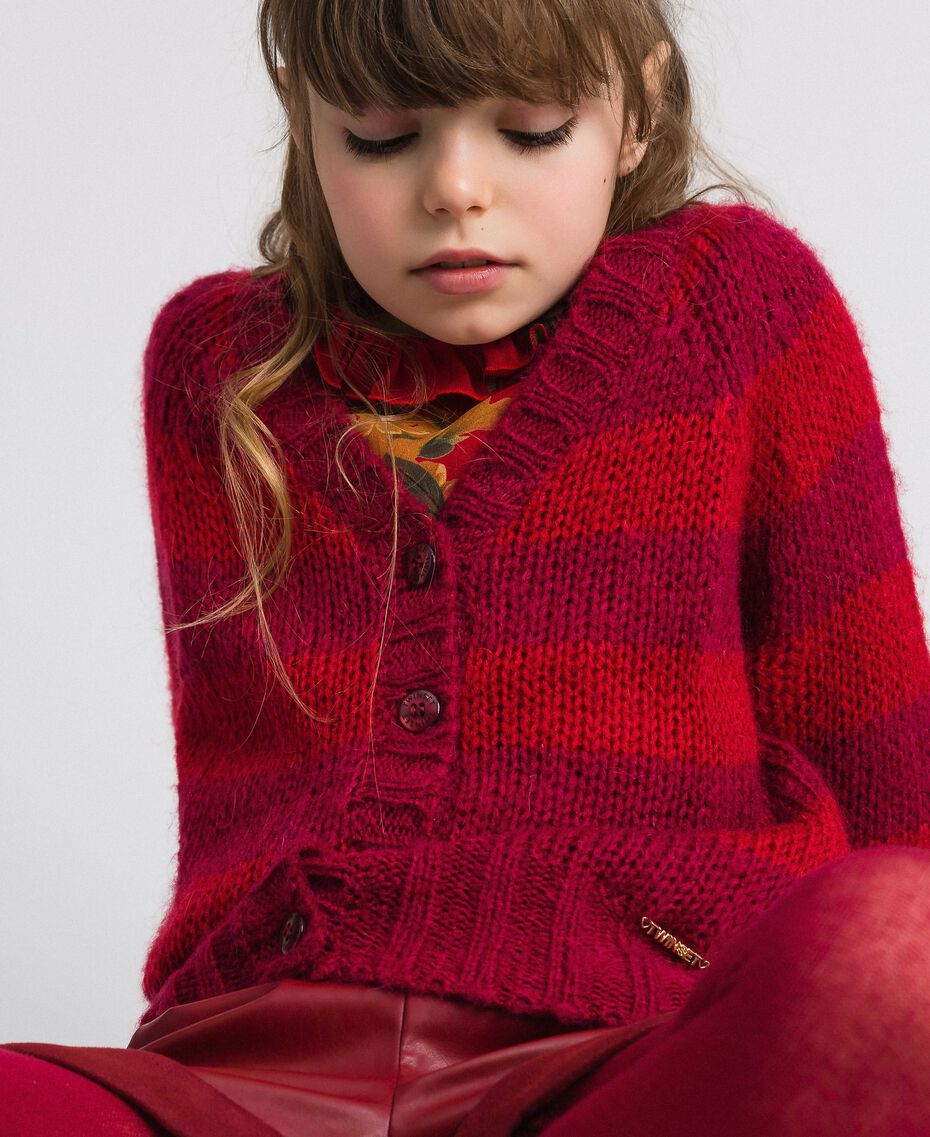 Two-tone striped mohair cardigan Ruby Wine Striped Jacquard / Red Child 192GJ3221-04