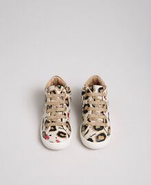 Animal print leather trainers Leopard Print Child 192GCB024-04
