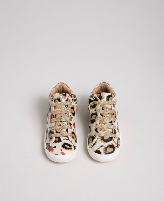 Sneakers in pelle a stampa animalier Stampa Maculato Bambina 192GCB024-04