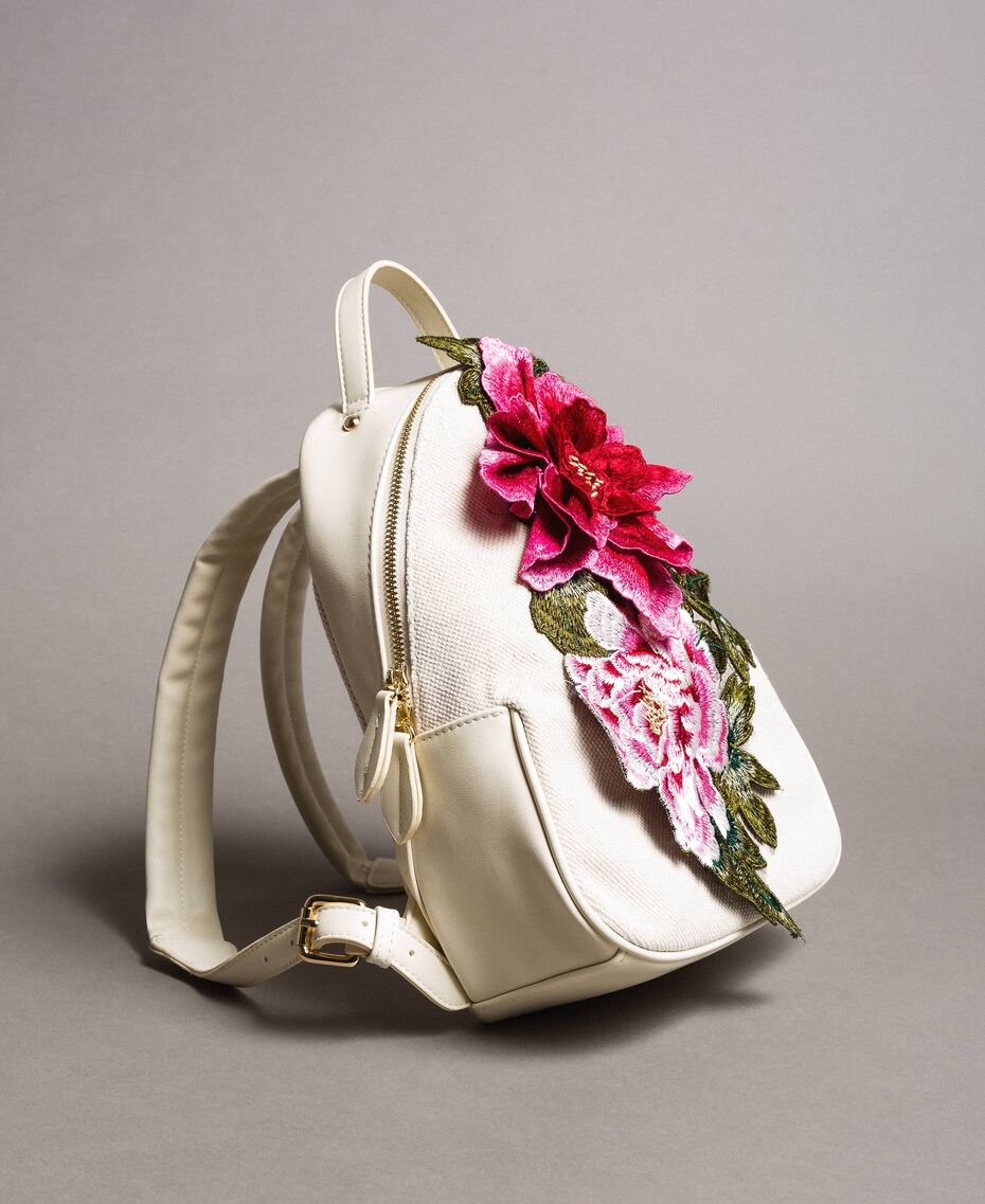 Canvas backpack with flowers Berry Red Woman 191MO8072-02