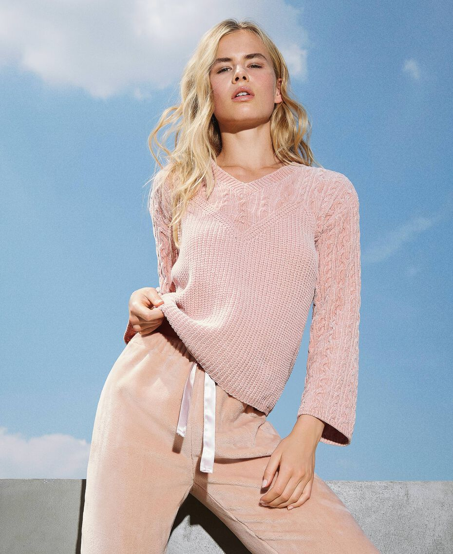 "Cable knit chenille jumper ""Peach Powder"" Pink Woman 202LL3GSS-01"