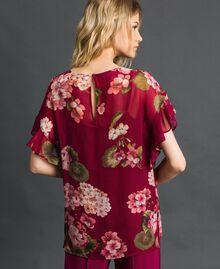 Floral print creponne blouse Beet Red Geranium Print Woman 192TP2720-03