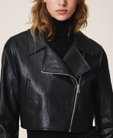 Faux leather cropped biker jacket Black Woman 202TP230A-04