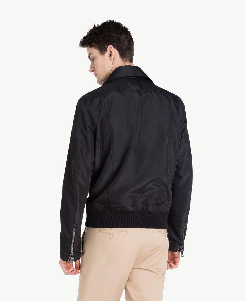 Technical fabric biker jacket Black Man US8232-03