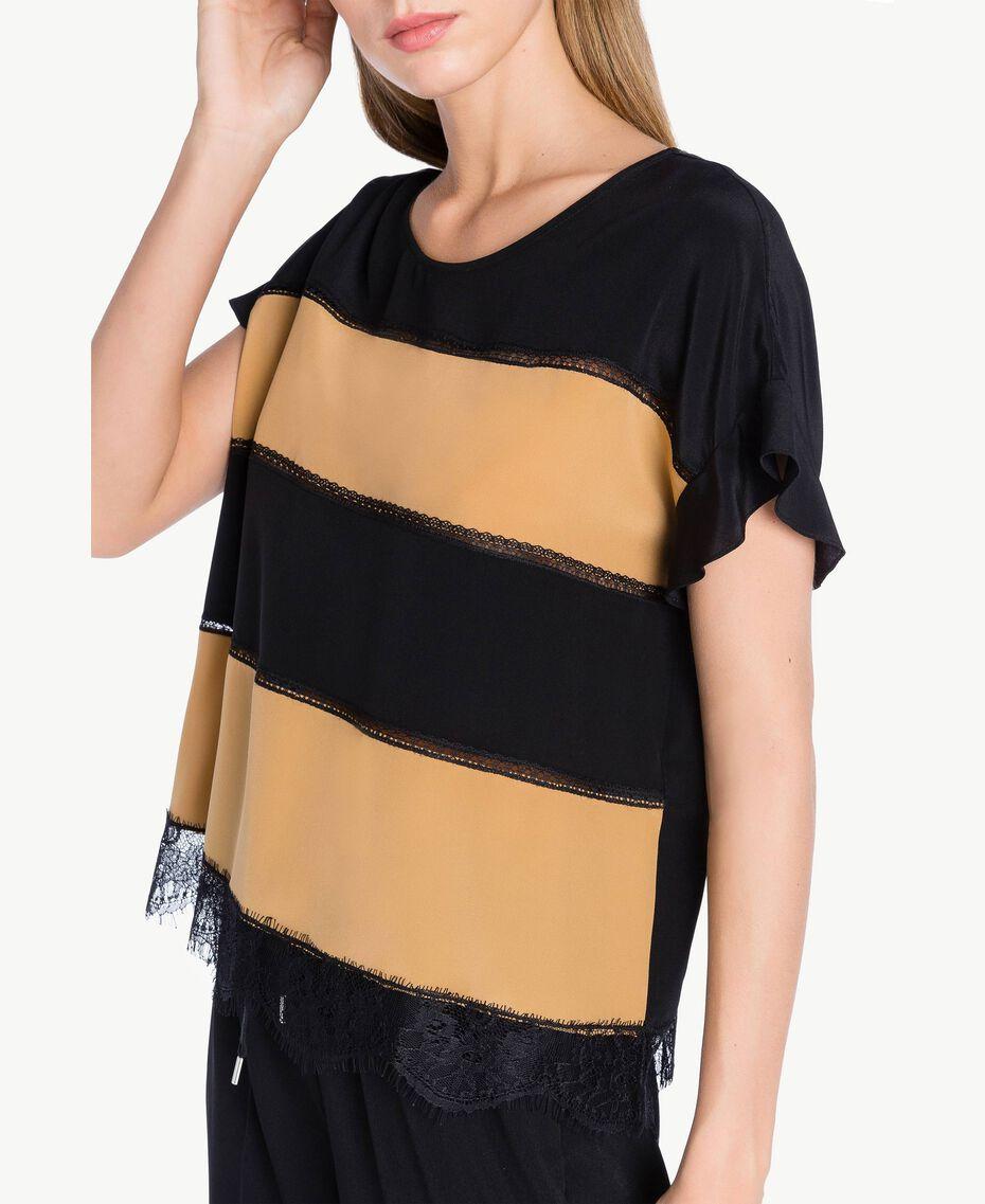 Bluse aus Seide Honigbeige / Schwarz PA72FN-02