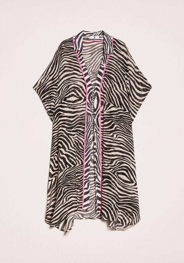 Kaftan aus Georgette mit Animal-Print
