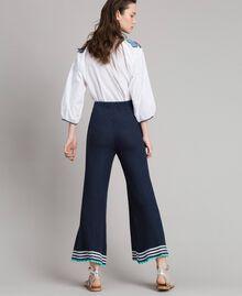 Pantalon palazzo en maille Multicolore Bleu Nuit / Blanc Cassé / Bleu Piscine Femme 191MT3081-05