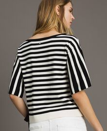 Striped top with bow Black / Ecru Striping Woman 191ST3020-03