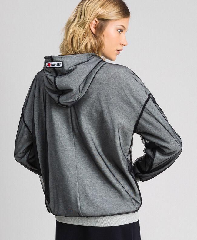 Sweatshirt aus Tüll mit Stickerei Hellgrau-Mélange Frau 192LI2TBB-04