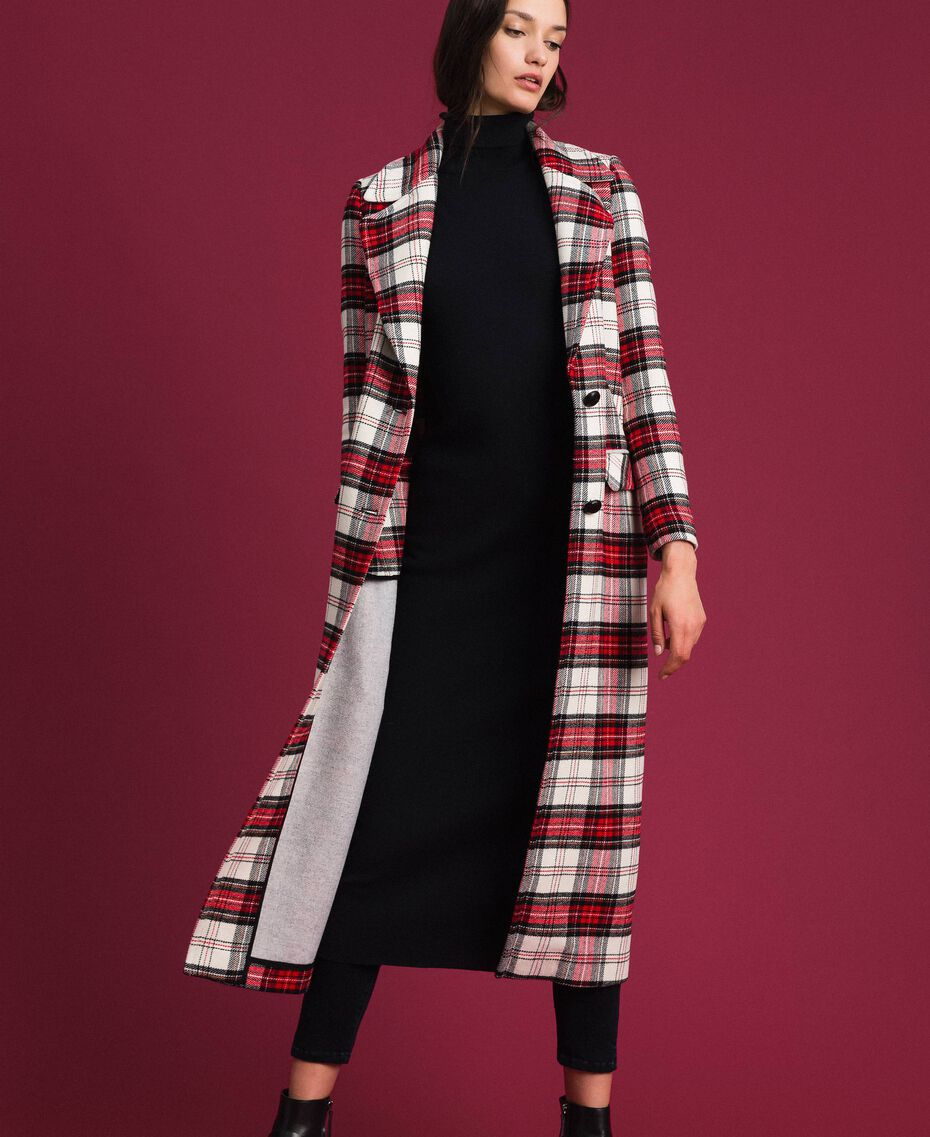 Manteau long en laine à carreaux Jacquard Grand Tartan Femme 192TP2611-02